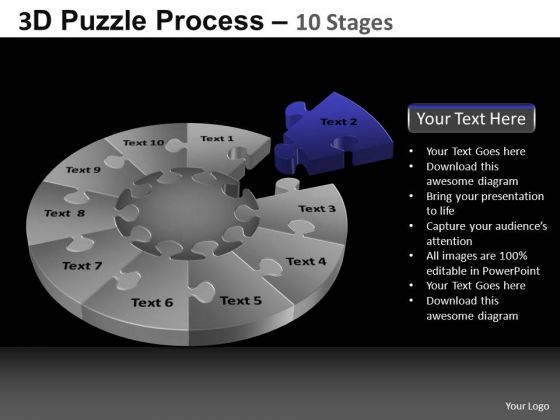 PowerPoint Template Success Pie Chart Puzzle Process Ppt Theme