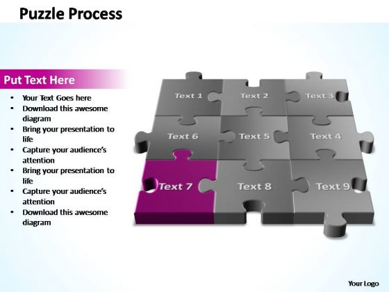 PowerPoint Template Teamwork 3d Puzzle Process Ppt Slide