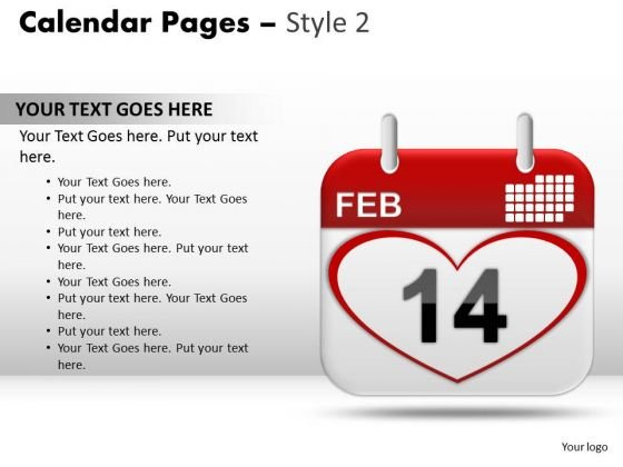 PowerPoint Template Teamwork Calendar 14 Feb Ppt Backgrounds