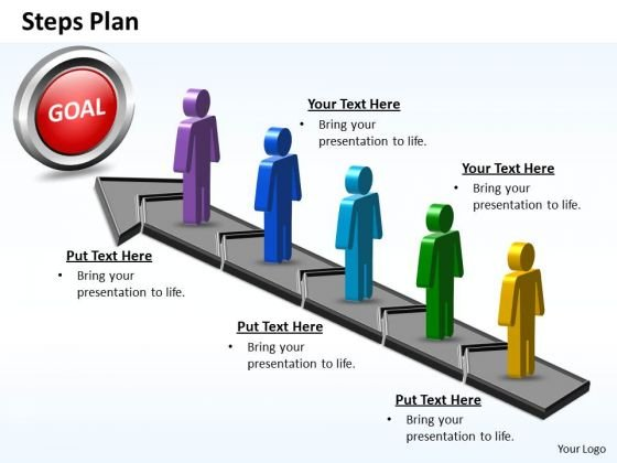 PowerPoint Template Teamwork Steps Plan 5 Stages Style 5 Ppt Theme