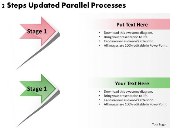 PowerPoint Templates Arrows 2 Steps Updated Parallel Processes