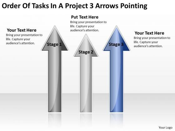 PowerPoint Templates Arrows Of Tasks Project 3 Pointing Ppt