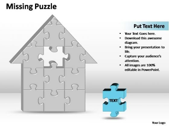PowerPoint Templates Business 3d Home 1 Missing Puzzle Piece Home Ppt Slides