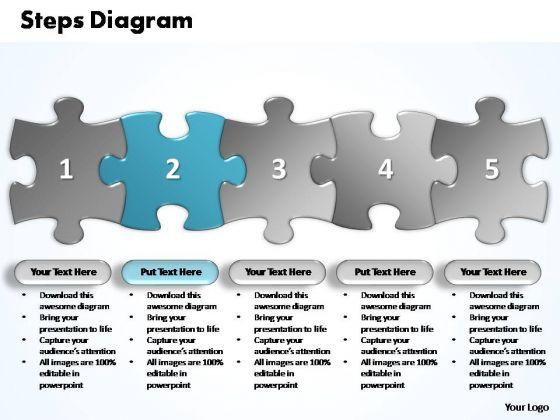 PowerPoint Templates Business Five Improvement Steps Puzzle Ppt Process