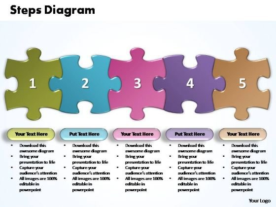 PowerPoint Templates Business Five Improvement Steps Puzzle Ppt Slides
