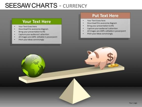PowerPoint Templates Business Growth Seesaw Charts Currency Ppt Slides