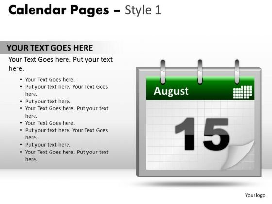 PowerPoint Templates Calendar 15 August Editable Ppt Slide Designs