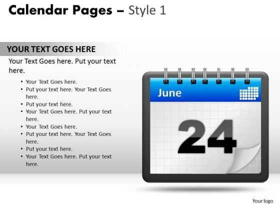 PowerPoint Templates Calendar 24 June Diagram Ppt Slide