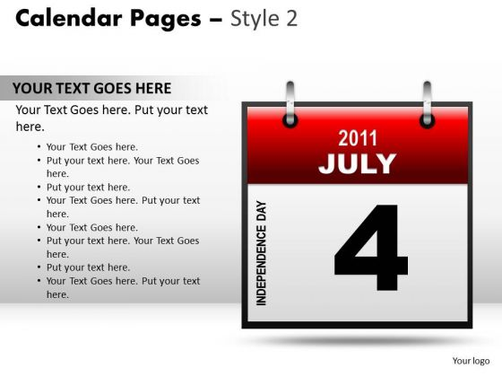 PowerPoint Templates Calendar 4 July Strategy Ppt Slide Designs
