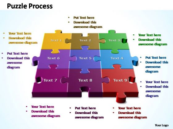 PowerPoint Templates Chart 3d Puzzle Process Ppt Slide