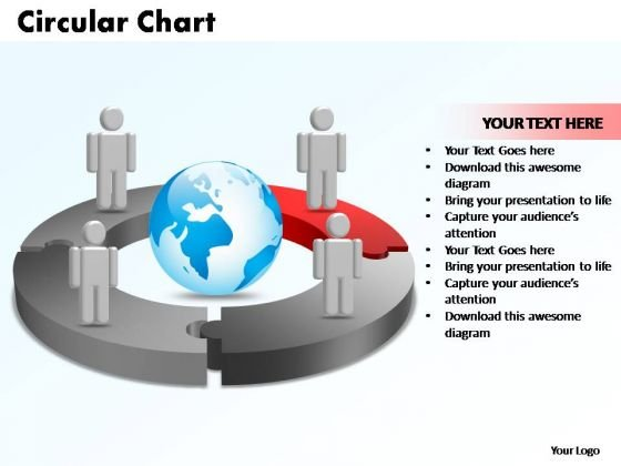 PowerPoint Templates Circular Chart With Globe Ppt Slide