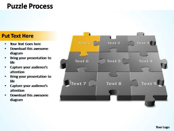 PowerPoint Templates Company 3d Puzzle Process Ppt Slide