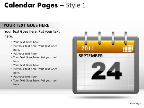 PowerPoint Templates Company Calendar 24 September Ppt Design