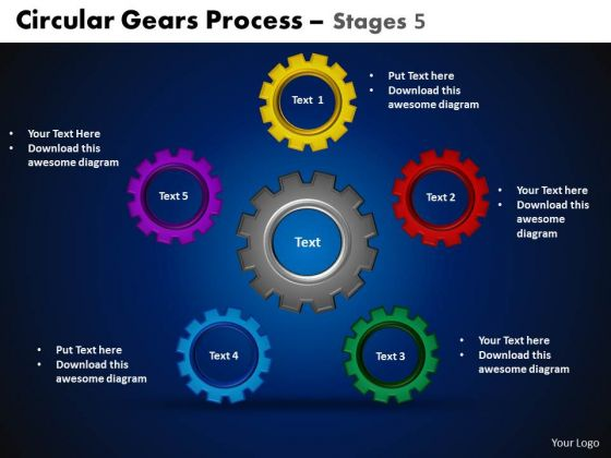 PowerPoint Templates Cycle Process Circular Gears Ppt Design