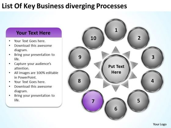 PowerPoint Templates Download Diverging Processes Ppt Circular Flow Diagram