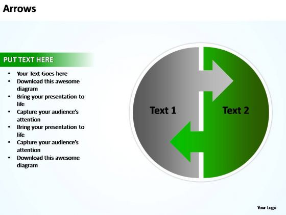 PowerPoint Templates Editable Arrows In Circle Ppt Slides