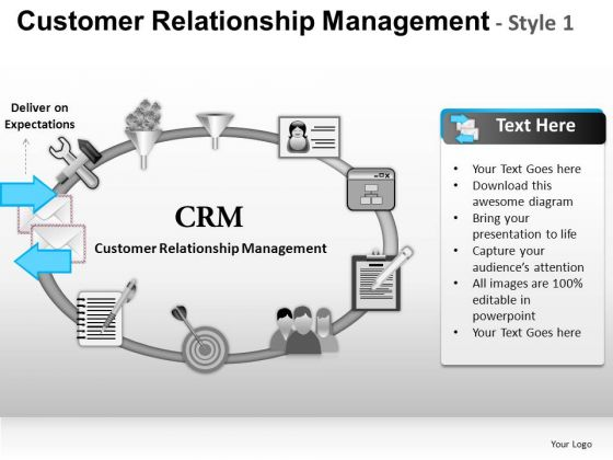 PowerPoint Templates Executive Growth Customer Relationship Management Ppt Slide