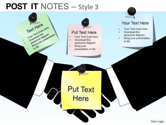 PowerPoint Templates Executive Handshake Post It Notes Ppt Slides