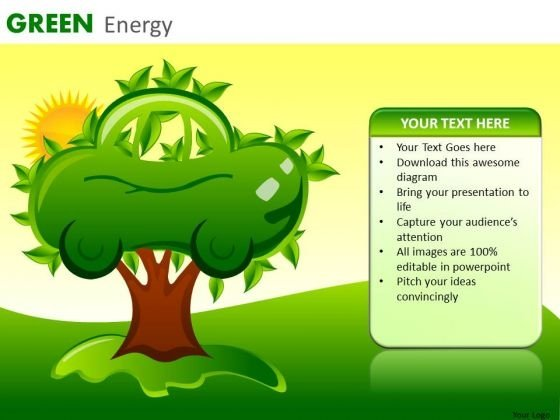 PowerPoint Templates Green Electric Car Tree Nature Ppt Slides