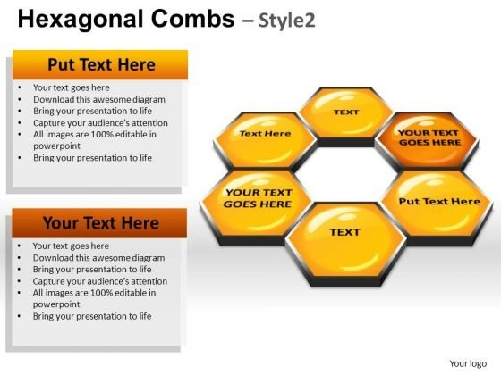 PowerPoint Templates Hexagonal Combs Process Ppt Slide