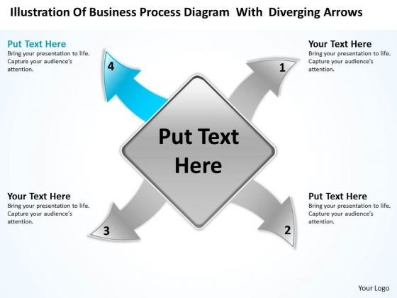 PowerPoint Templates Process Diagram With Diverging Arrows Ppt Radial Slides