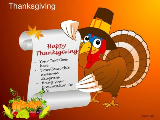 PowerPoint Templates Turkey Thanksgiving Ppt Theme