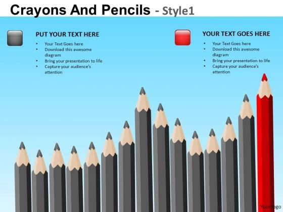 PowerPoint Templates With Sharpened Pencils Ppt Slides