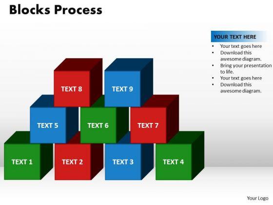 PowerPoint Theme Blocks Process Marketing Ppt Design Slides