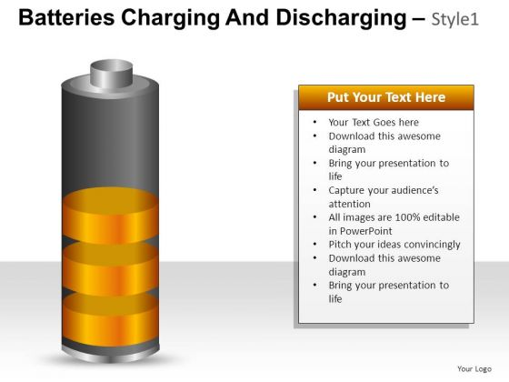 PowerPoint Theme Business Batteries Charging And Discharging Ppt Slide