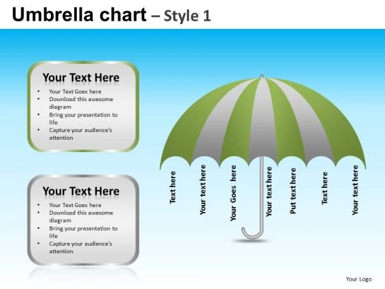 PowerPoint Theme Business Competition Targets Umbrella Chart Ppt Design