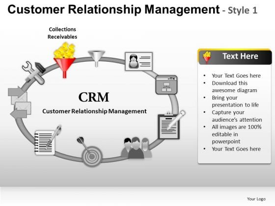 PowerPoint Theme Business Strategy Customer Relationship Management Ppt Slides
