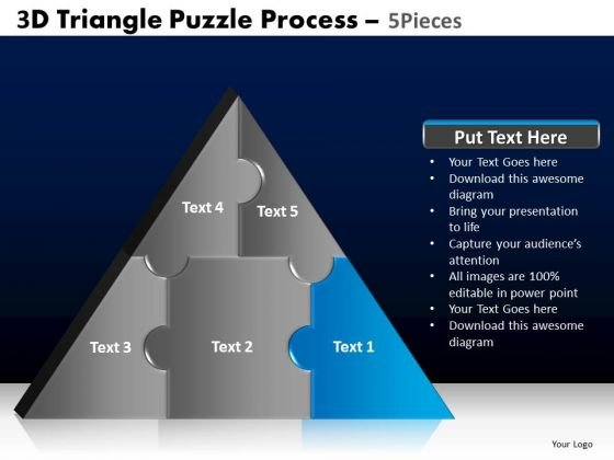 PowerPoint Theme Business Triangle Puzzle Ppt Slide
