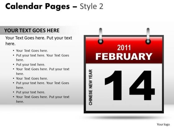 PowerPoint Theme Calendar 14 February Leadership Ppt Designs