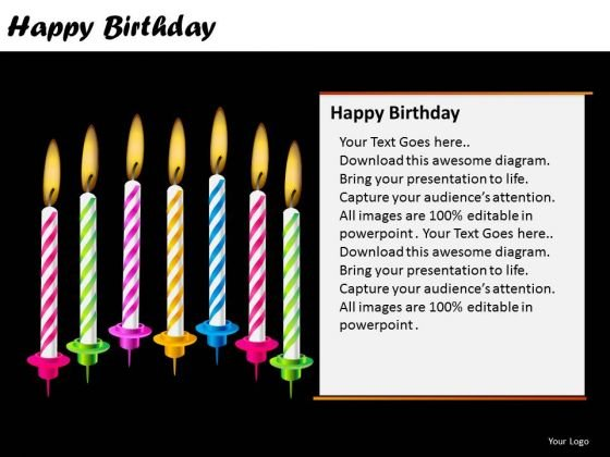 PowerPoint Theme Candles Happy Birthday Ppt Presentation Designs