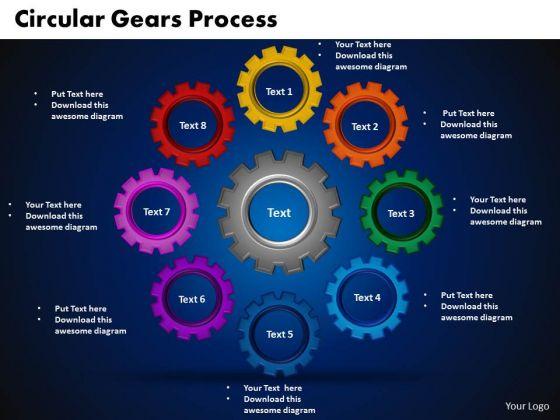 PowerPoint Theme Circular Gears Process Communication Ppt Presentation