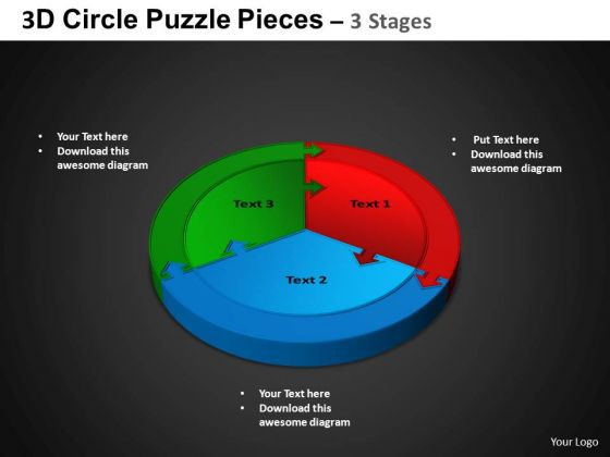 PowerPoint Theme Circular Process Circle Puzzle Diagram Ppt Design Slides