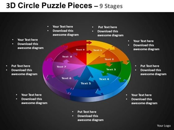 PowerPoint Theme Circular Process Circle Puzzle Diagram Ppt Presentation
