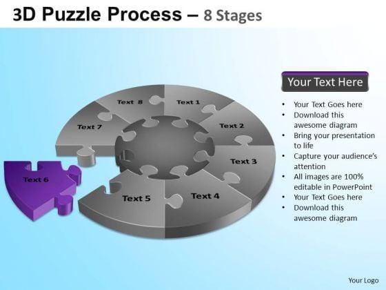 PowerPoint Theme Company Designs Puzzle Segment Pie Chart Ppt Slide