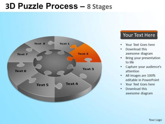 PowerPoint Theme Corporate Growth Puzzle Segment Pie Chart Ppt Design