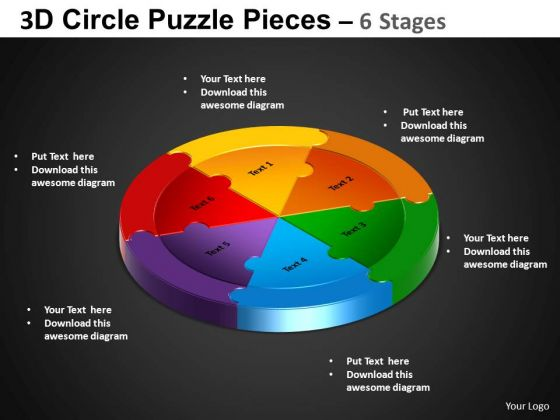 PowerPoint Theme Cycle Process Circle Puzzle Diagram Ppt Slide