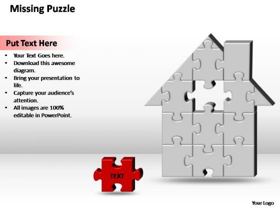 PowerPoint Theme Diagram Home H Missing Puzzle Piece Ppt Slide Designs