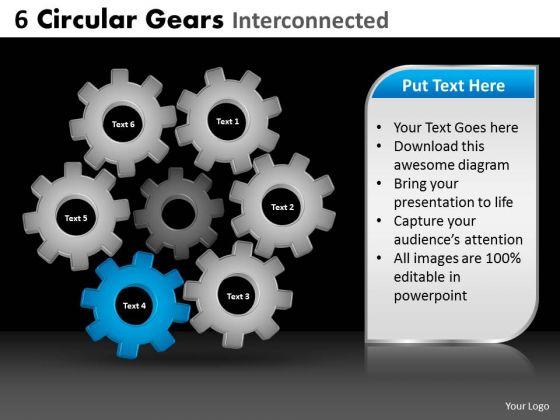 PowerPoint Theme Editable Circular Gears Ppt Process