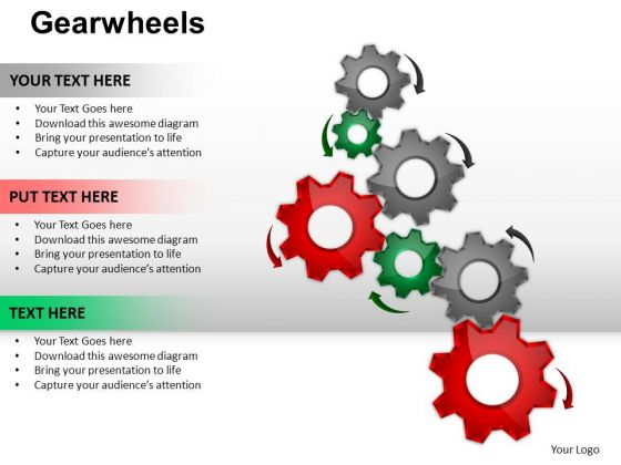 PowerPoint Theme Editable Gearwheels Ppt Process
