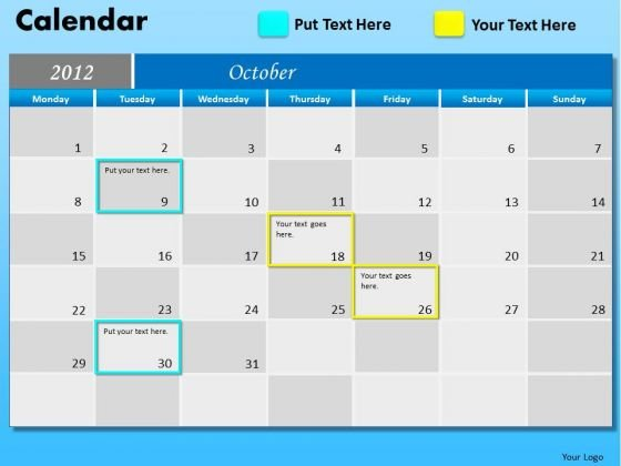 PowerPoint Theme Executive October Calendar 2012 Ppt Themes