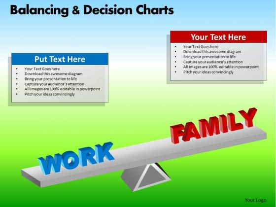 PowerPoint Theme Executive Success Balancing Decision Charts Ppt Slide