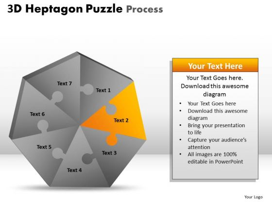 PowerPoint Theme Global Heptagon Puzzle Ppt Process