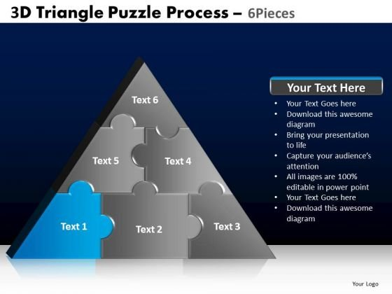 PowerPoint Theme Global Triangle Puzzle Ppt Backgrounds