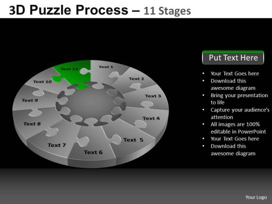 PowerPoint Theme Graphic Pie Chart Puzzle Process Ppt Slidelayout