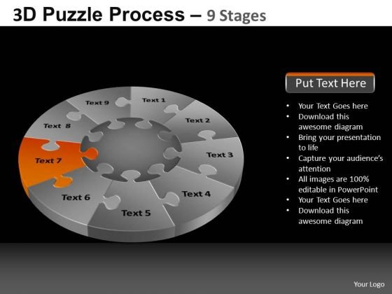 PowerPoint Theme Growth Pie Chart Puzzle Process Ppt Slide