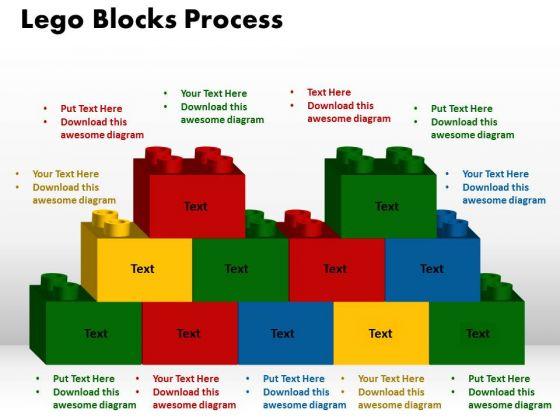 PowerPoint Theme Lego Blocks Process Growth Ppt Slides